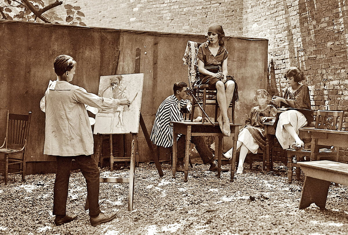Picture of artist painting a model in 1921. Used as header picture for TVIA post #3 Brass Tacks.