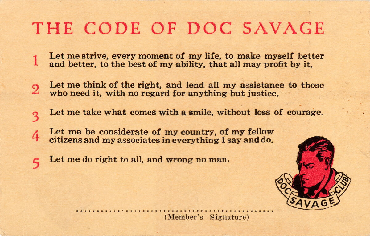 Large image of The Code of Doc Savage on a membership card. Used as the feature image in TVIA blog post #2.
